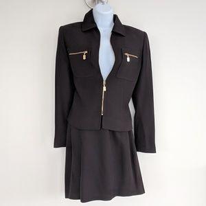 ST. JOHN Skirt suit brown w gold zippers 2